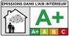 Classement A+ (optimal) en termes d'émissivité des substances volatiles dans l'air intérieur